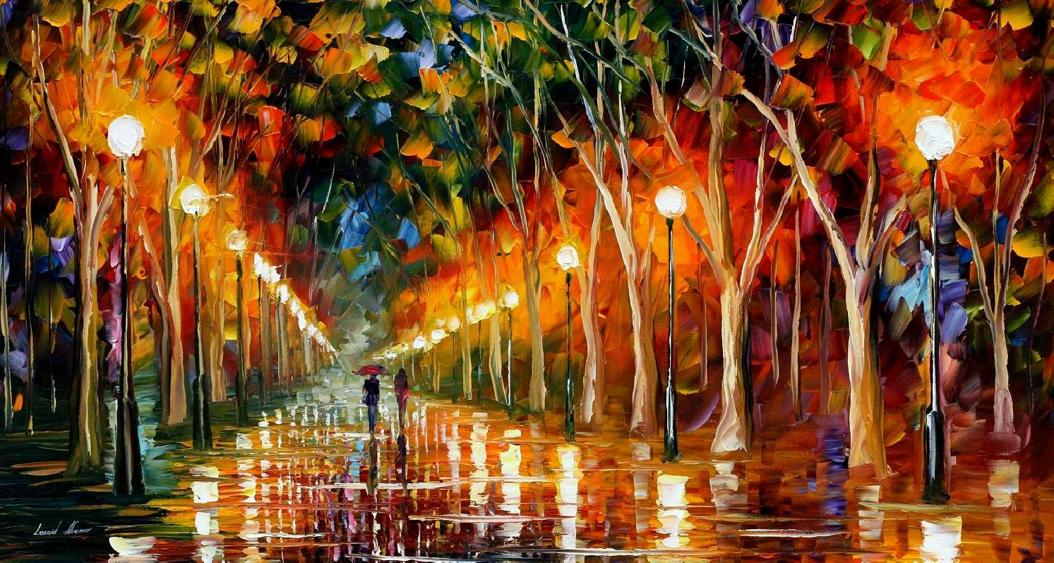 THE PATH TO VICTORY — PALETTE KNIFE Oil Painting On Canvas By Leonid Afremov - Size 54x40""