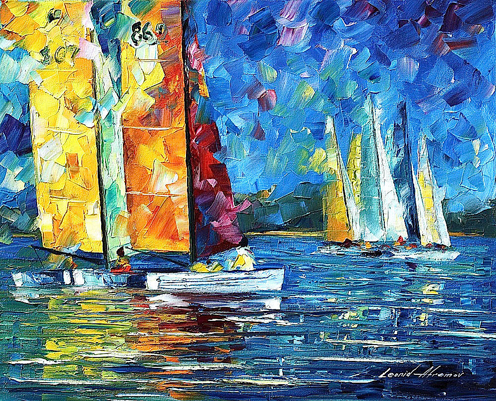 "CLOSE ENCOUNTER — PALETTE KNIFE Oil Painting On Canvas By Leonid Afremov - Size 16""x20"" (40cm x 50cm)"