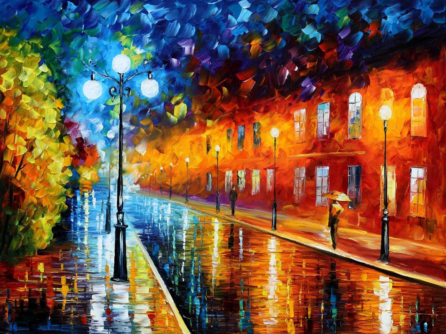 "BLUE LIGHTS — Original Oil Painting On Canvas By Leonid Afremov - Size 40""x30"""