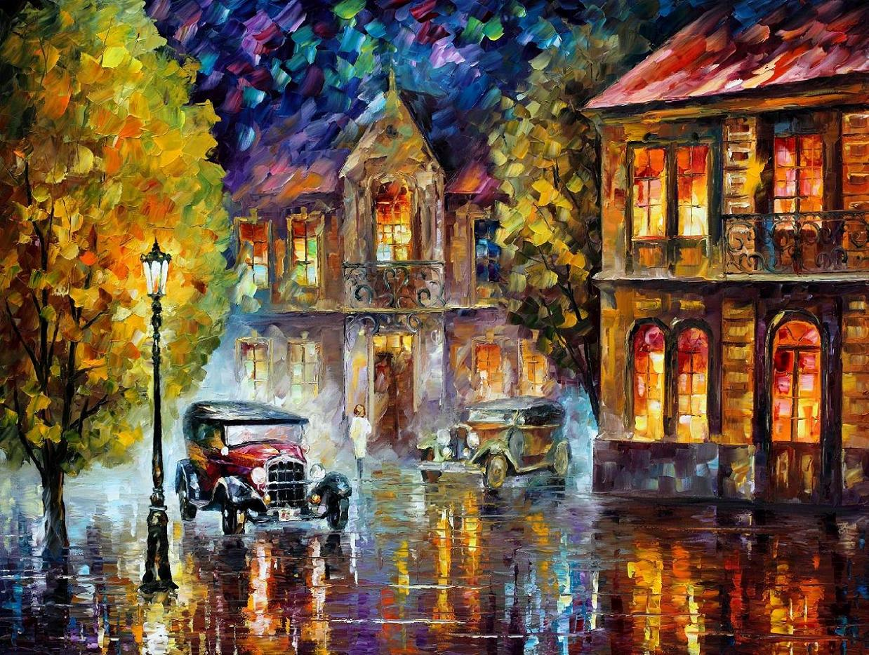 "Los Angeles    1930 — PALETTE KNIFE Oil Painting On Canvas By Leonid Afremov - Size 48""X36""(120cm x 90cm)"