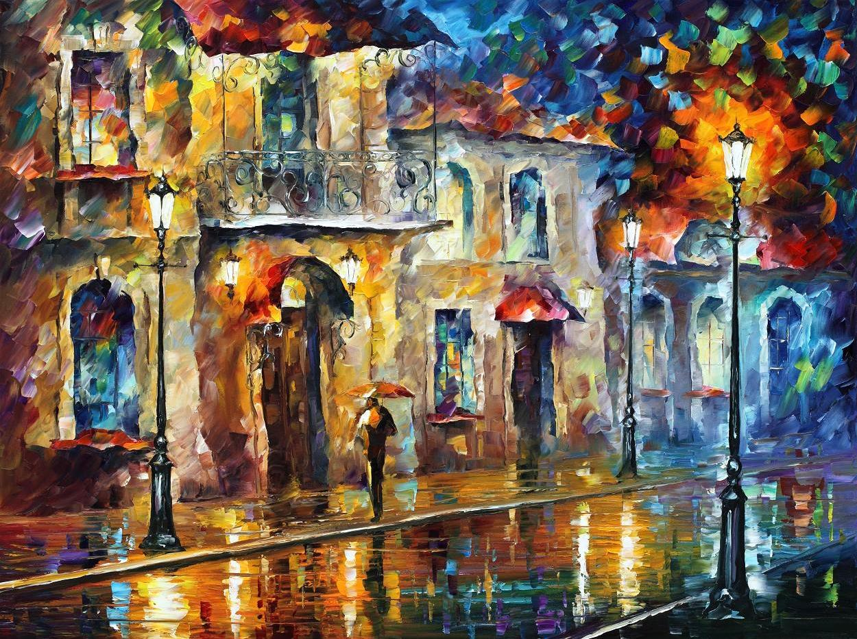 "UNDER UMBRELLA — PALETTE KNIFE Oil Painting On Canvas By Leonid Afremov - Size 40""x30""(100cm x 75cm)"