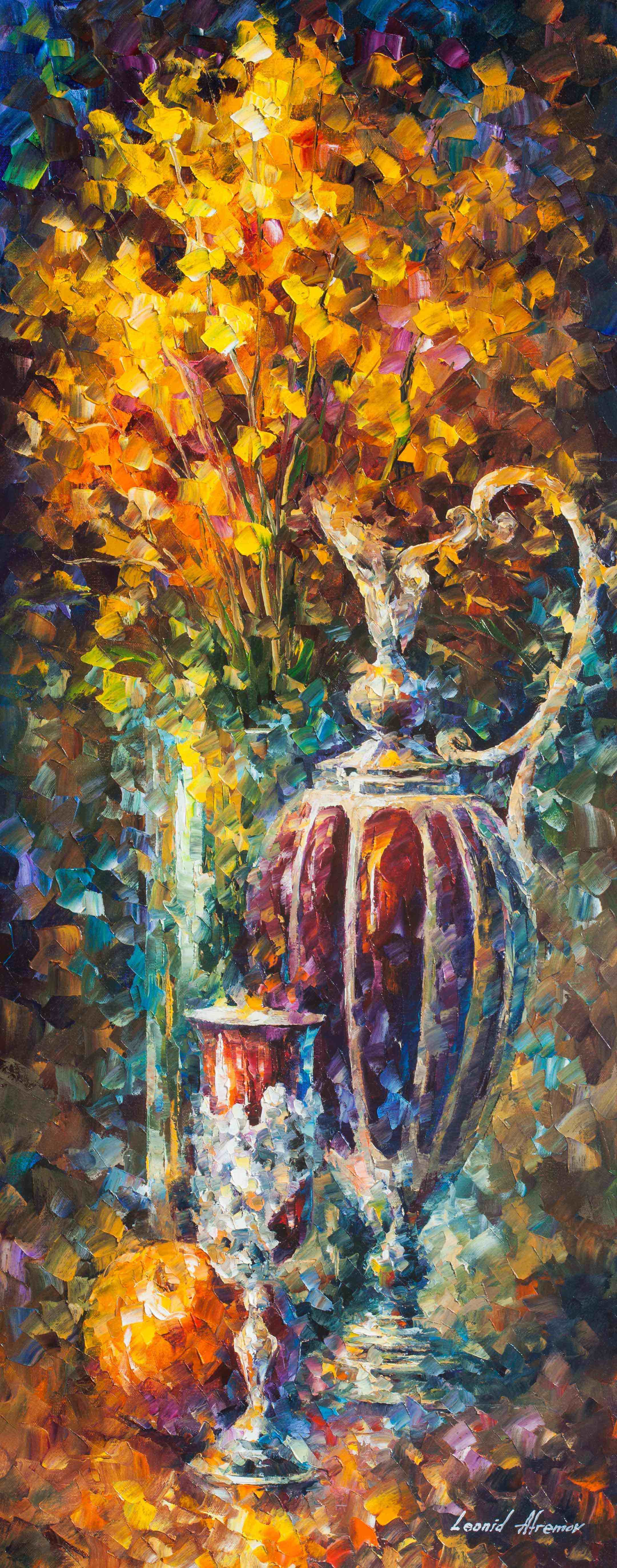 "RED VASE - Original Oil Painting On Canvas By Leonid Afremov - 16""X40"""