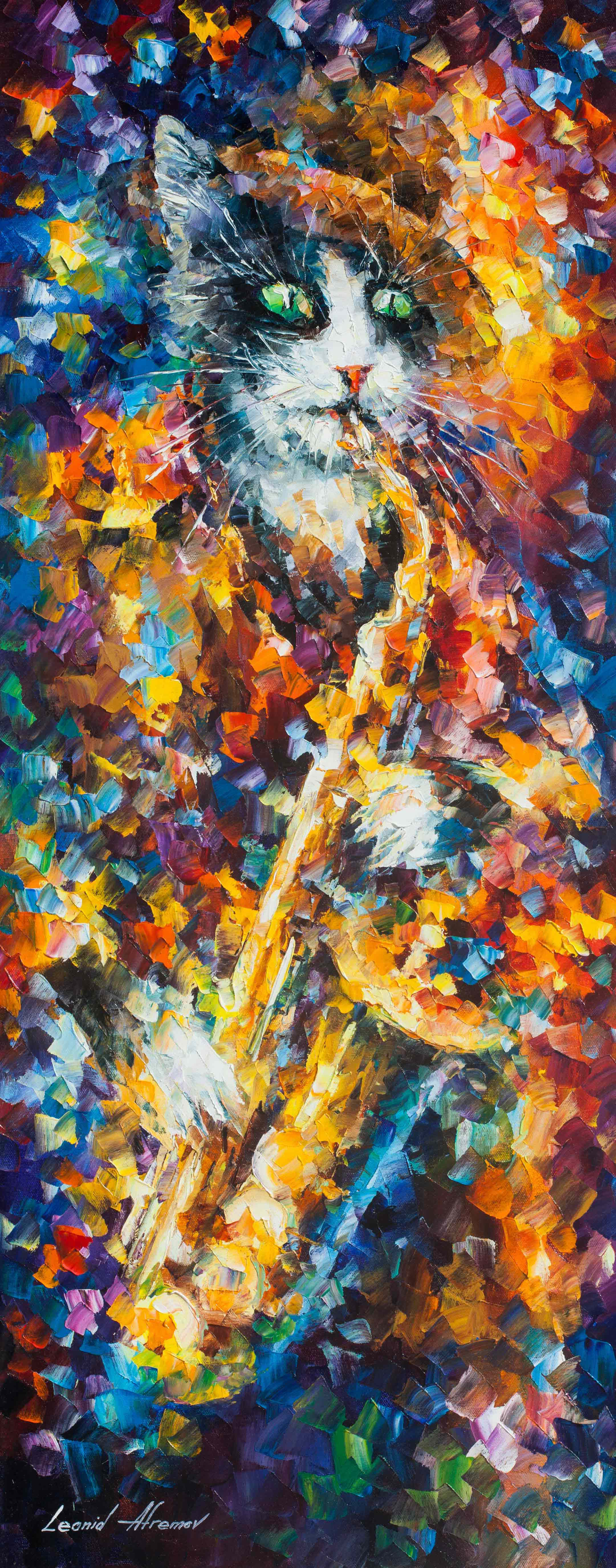 "SAXOPHONE CAT - Original Oil Painting On Canvas By Leonid Afremov - 16""X40"""
