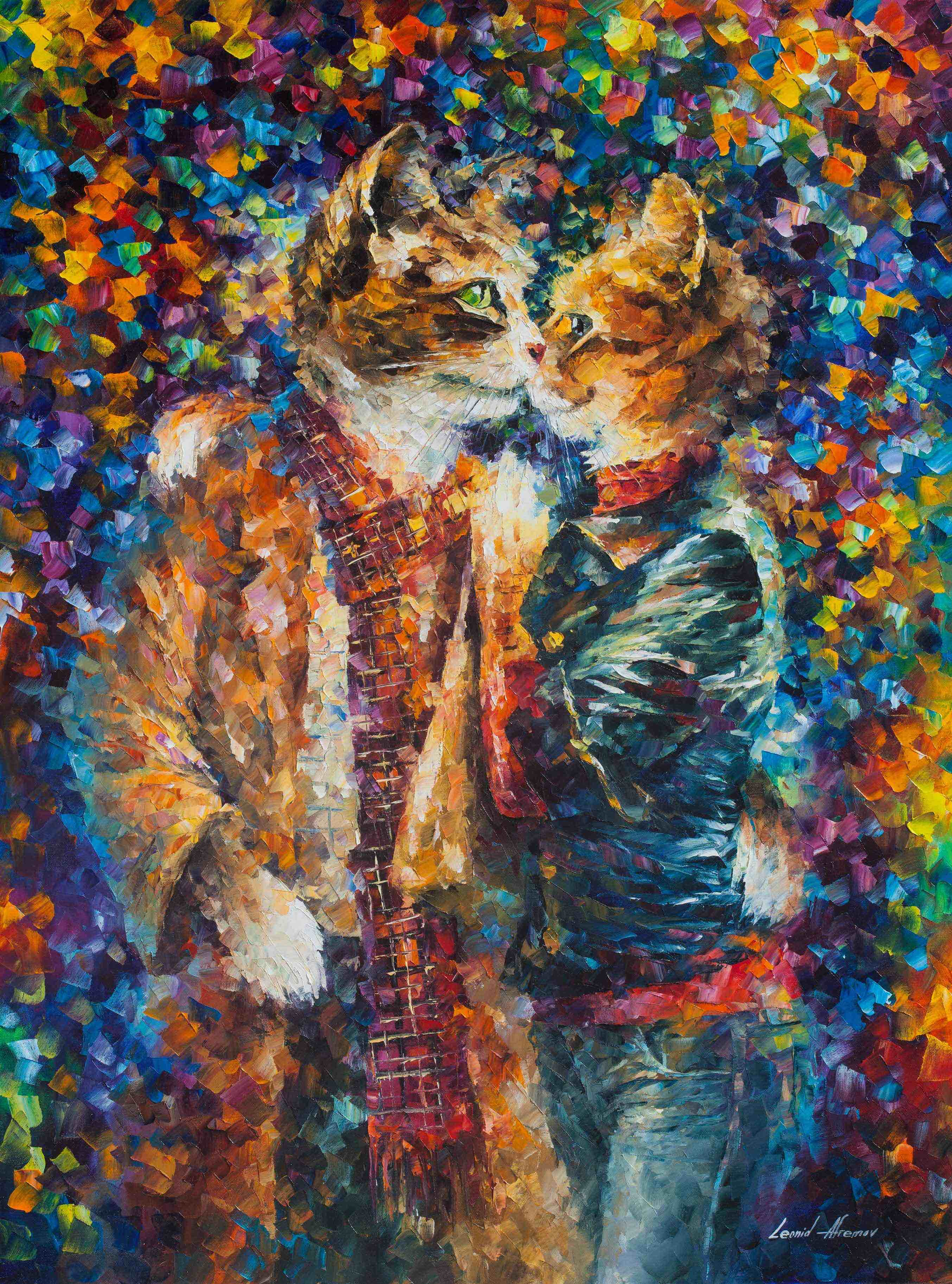 "KISSING CATS - Original Oil Painting On Canvas By Leonid Afremov - 30""X40"""