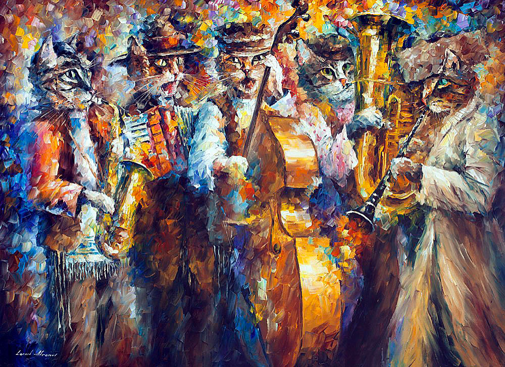 "KLEIZMER CATS — PALETTE KNIFE Oil Painting On Canvas By Leonid Afremov - Size 96""x72"" (240cm x 180cm)"