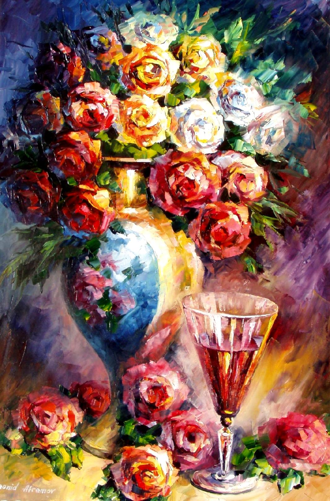 "FALLEN ROSES — Palette knife Oil Painting on Canvas by Leonid Afremov  - Size 20""x30""  (50cm x 75cm)"