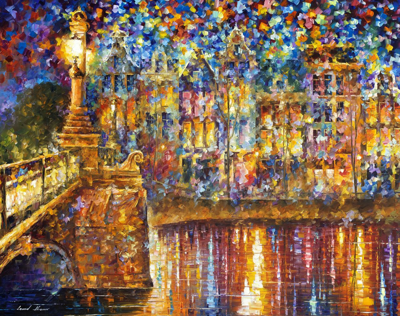 "BEAUTIFUL NIGHT - Original Oil Painting On Canvas By Leonid Afremov - 57""x43"""