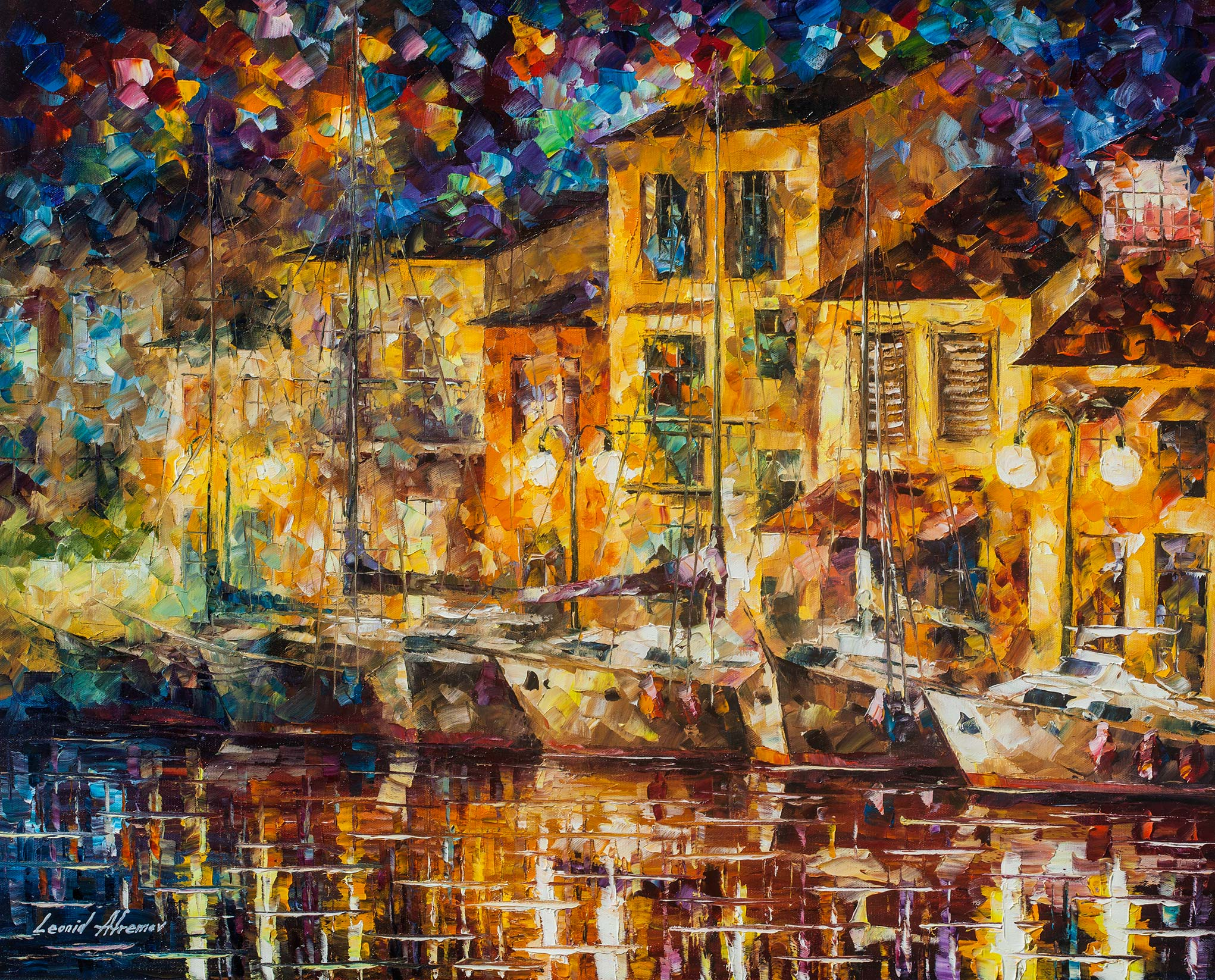 "DREAMING DOCK   — Original Oil Painting On Canvas By Leonid Afremov - Size 30""x24"" (75cm x 60cm)"