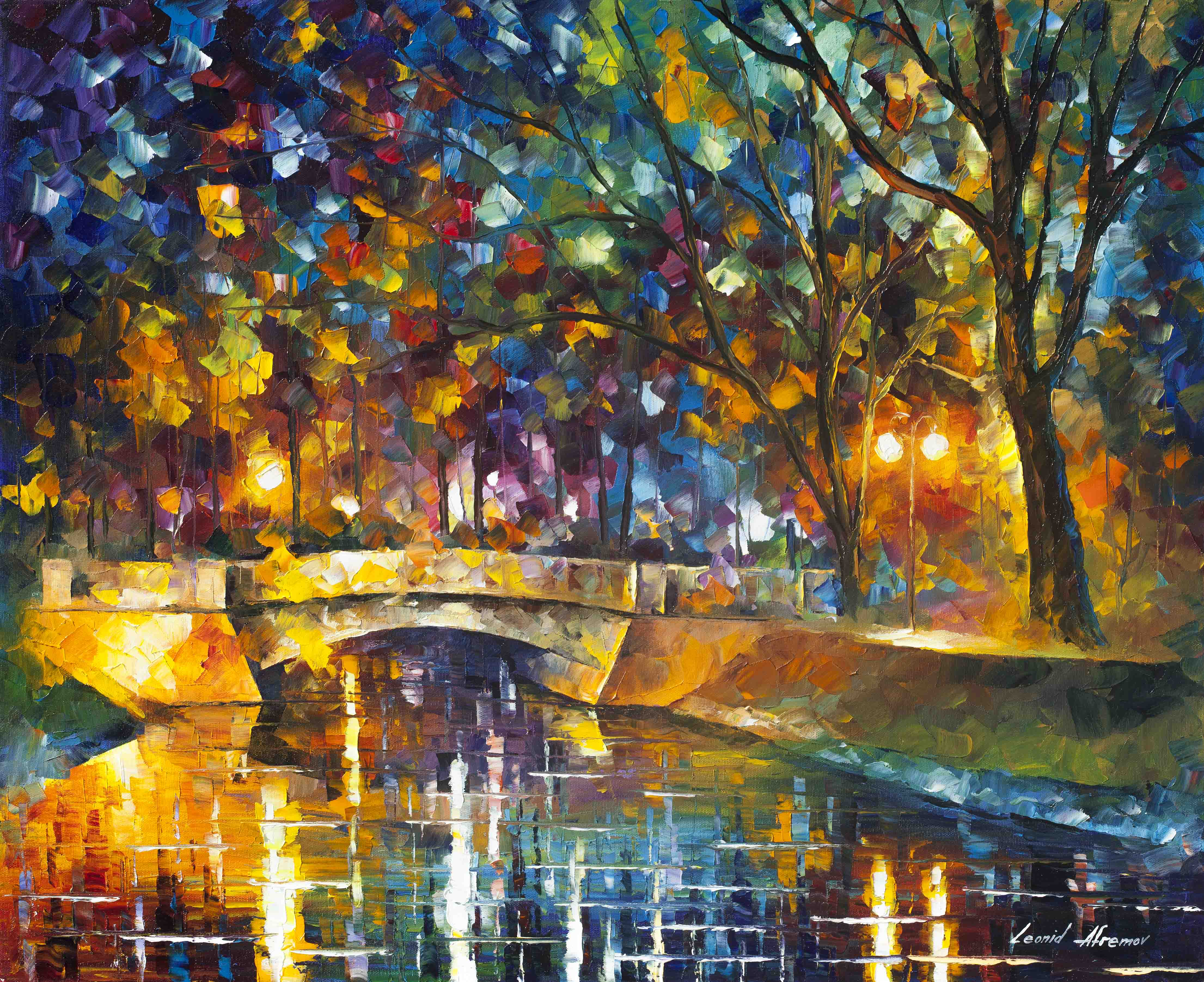 "BRIDGE OF IMPRESSIONS   - Original Oil Painting On Canvas By Leonid Afremov - 30""X24""   (75cm x 60cm)"
