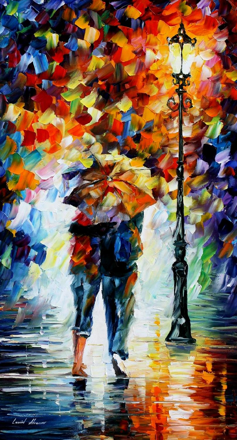 "BONDED BY THE RAIN — PALETTE KNIFE Oil Painting On Canvas By Leonid Afremov - Size 20""x36"" (promo)"