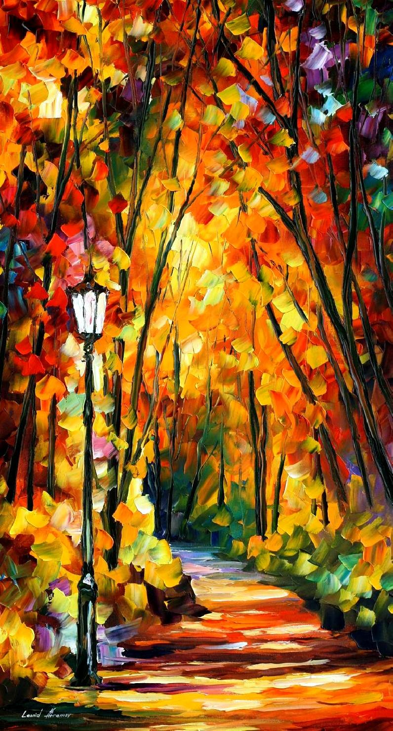 "LIGHT OF THE FOREST — Print On Canvas By Leonid Afremov - Size 40""X72"" (100cm x 180cm)"
