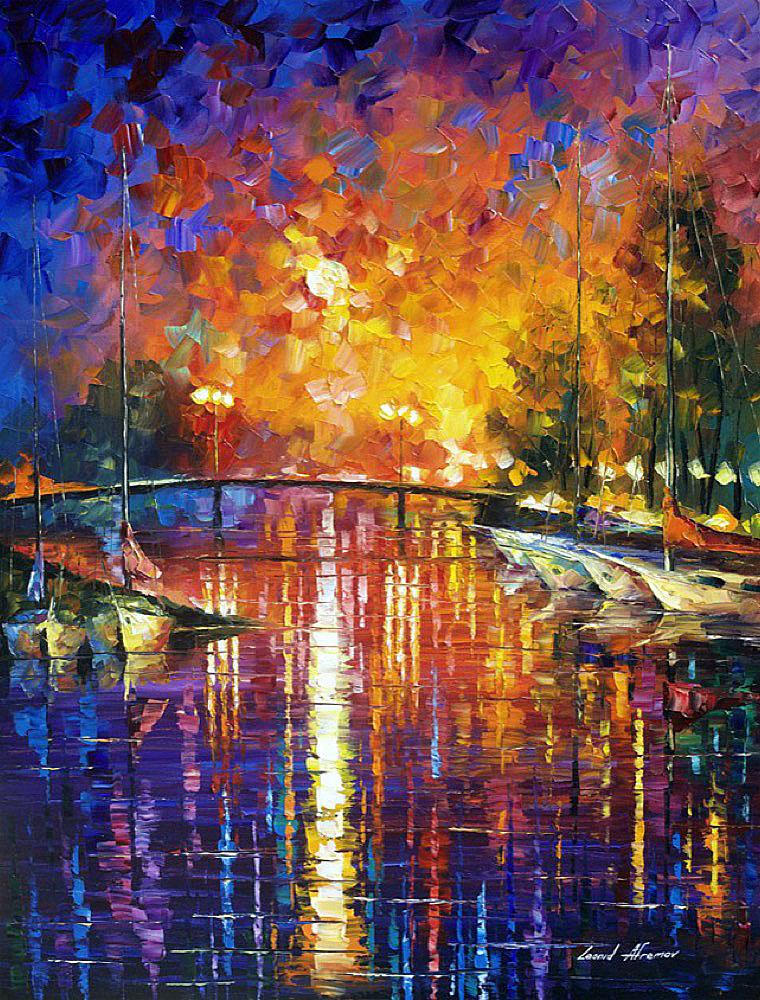 "CANAL IN FORT LAUDERDALE —  Original Oil Painting On Canvas By Leonid Afremov - Size 30""x40"" (75cm x 100cm)"