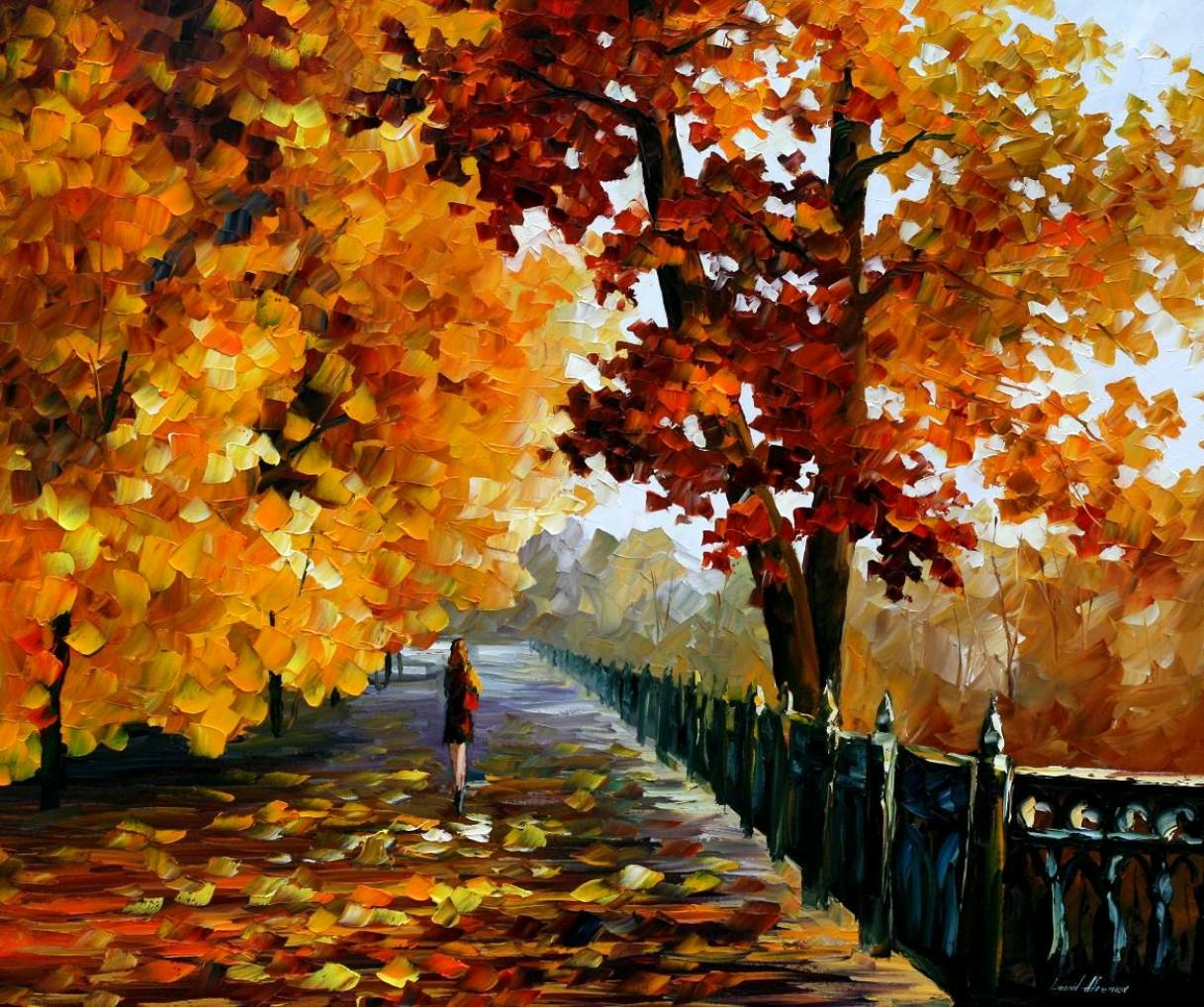 "BLUES OF FALLING LEAFS — PALETTE KNIFE Oil Painting On Canvas By Leonid Afremov - Size 36""x30"" (90cm x 75cm) (offer)"