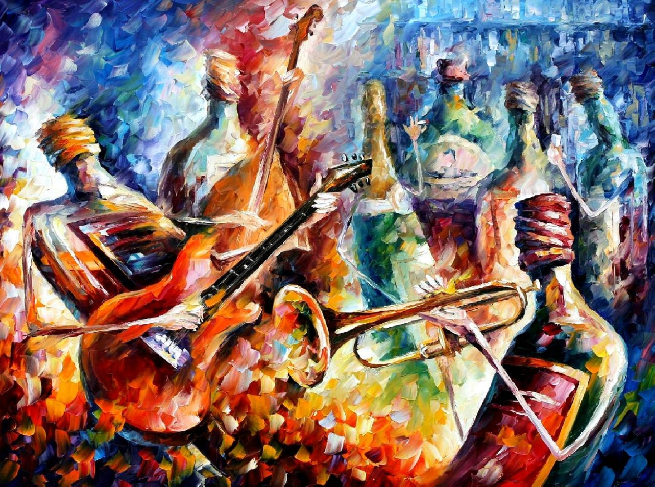 "MUSIC BOTTLE — PALETTE KNIFE Oil Painting On Canvas By Leonid Afremov - Size 24""x20"""