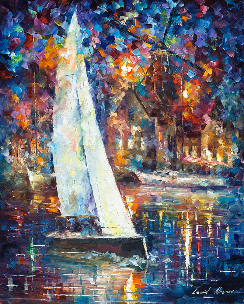 White Sail Palette Knife Oil Painting On Canvas By