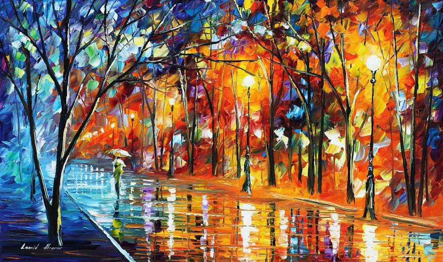 "Long Alley —ORIGINAL  PALETTE KNIFE Oil Painting On Canvas By Leonid Afremov - Size 40""x24"""