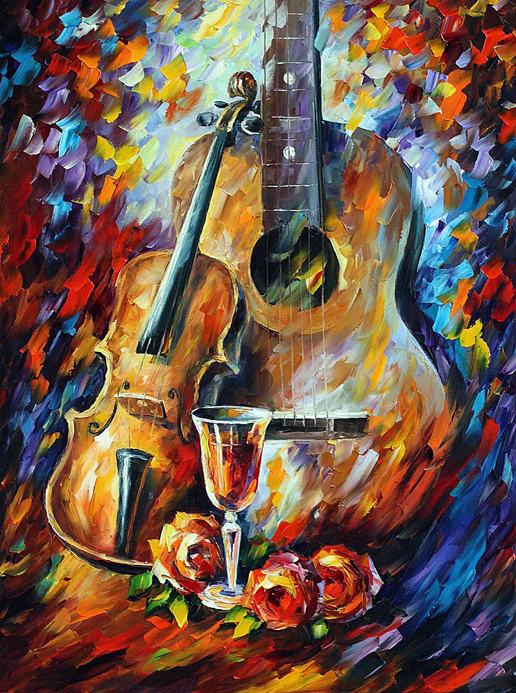 "GUITAR AND VIOLIN — PALETTE KNIFE Oil Painting On Canvas By Leonid Afremov - Size 20""x24"" (50cm x 60cm)"