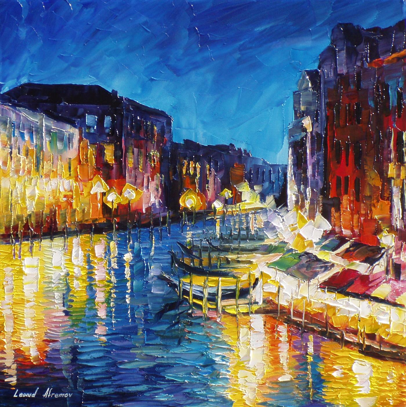 venice in color palette knife oil painting on canvas by leonid