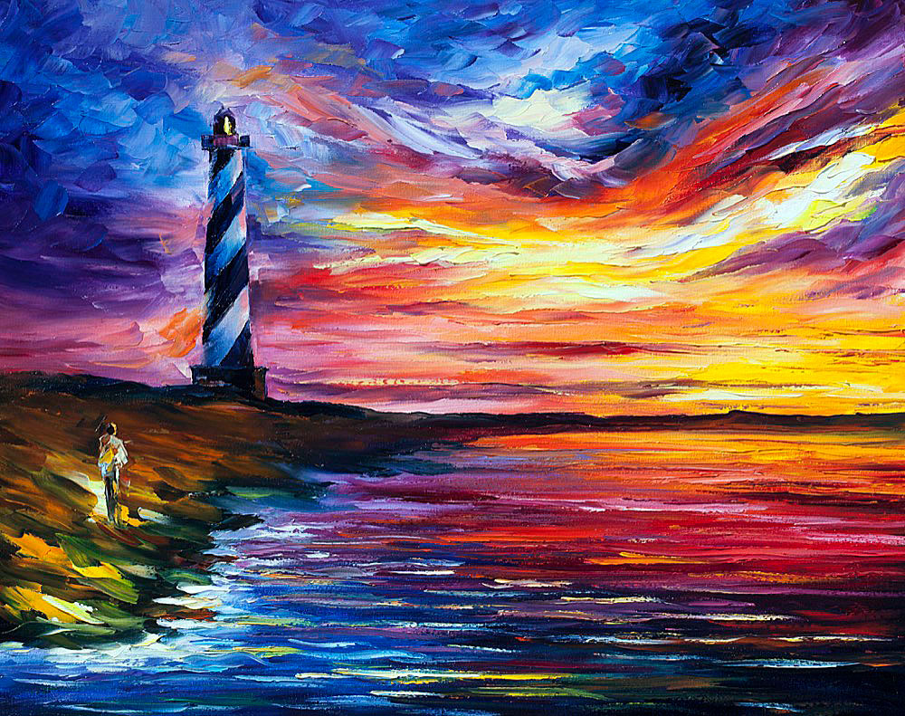 "LIGHTHOUSE AND WIND — Original Oil Painting On Canvas By Leonid Afremov - Size 24""x30"" (60cm x 75cm)"