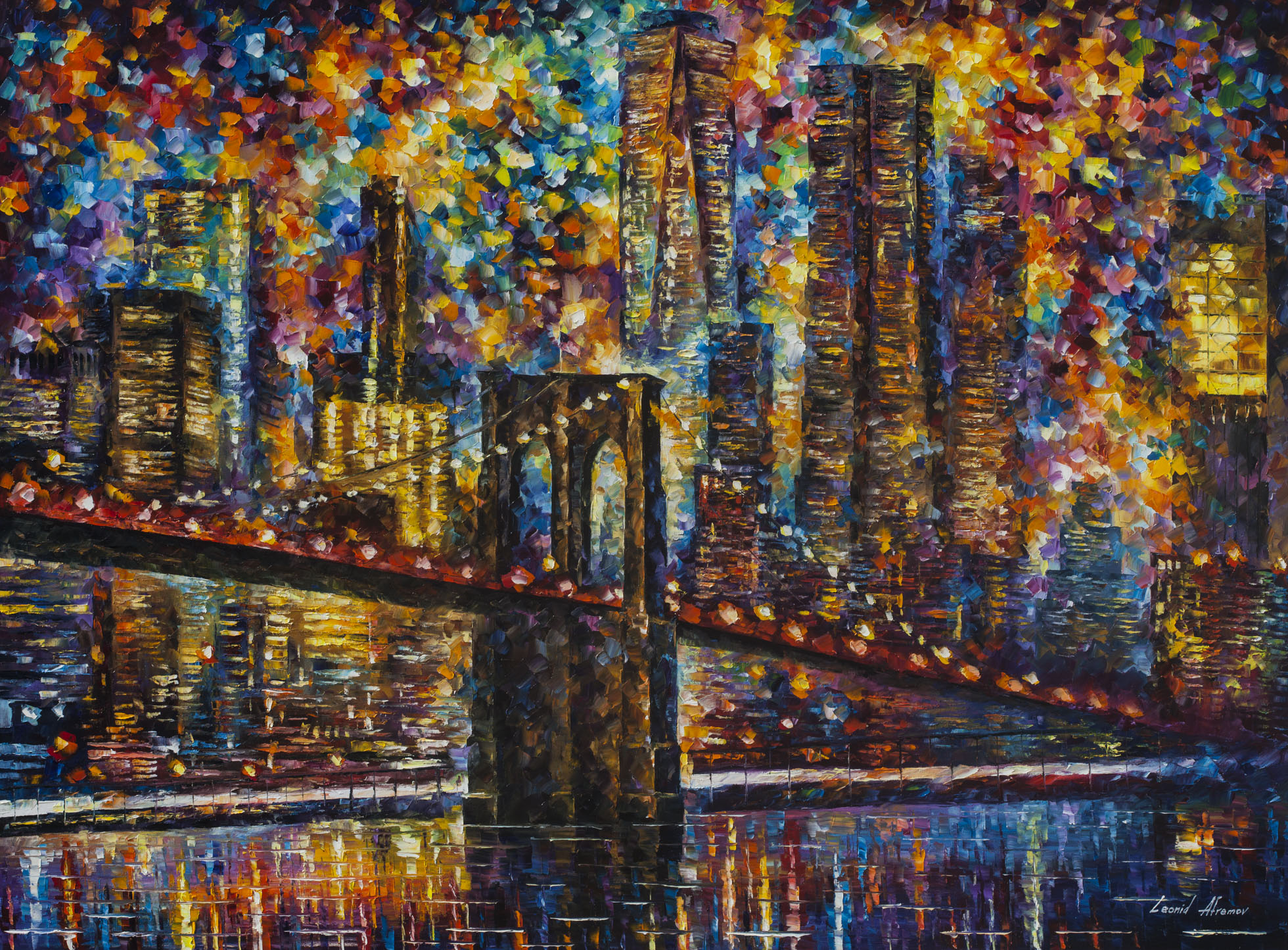 "Night New York - Palette Knife Oil Painting On Canvas By Leonid Afremov - 48""x36"" (120cm x 90cm)"