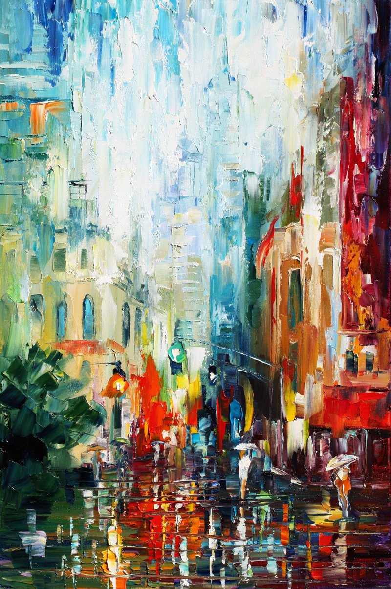 "Morning in New York  - Original Oil Painting On Canvas By Leonid Afremov - 15""X25"" (37cm x 64cm)"