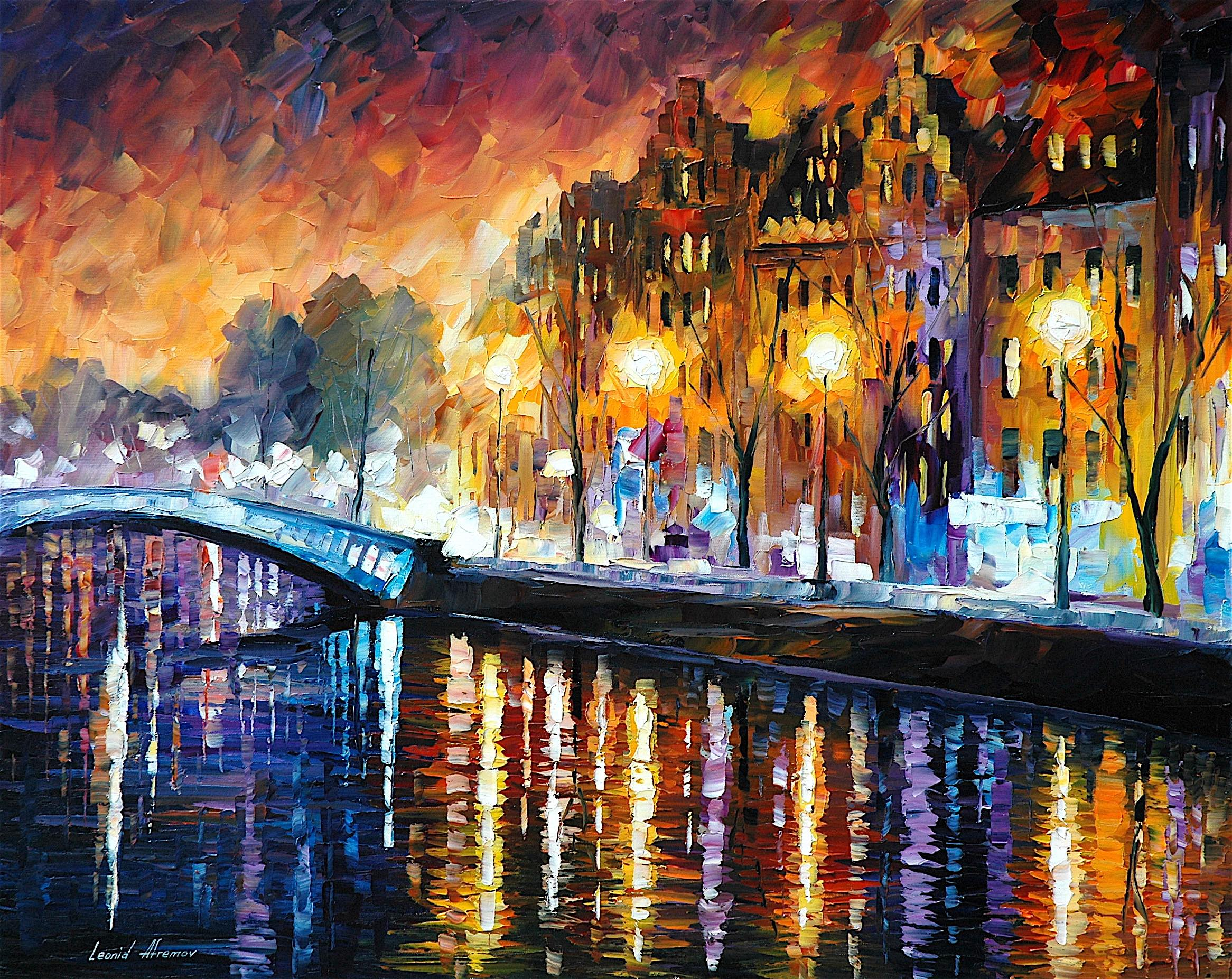 "AMSTERDAM — WINTER REFLECTION — PALETTE KNIFE Oil Painting On Canvas By Leonid Afremov - Size 30""x24"" (75cm x 60cm)"