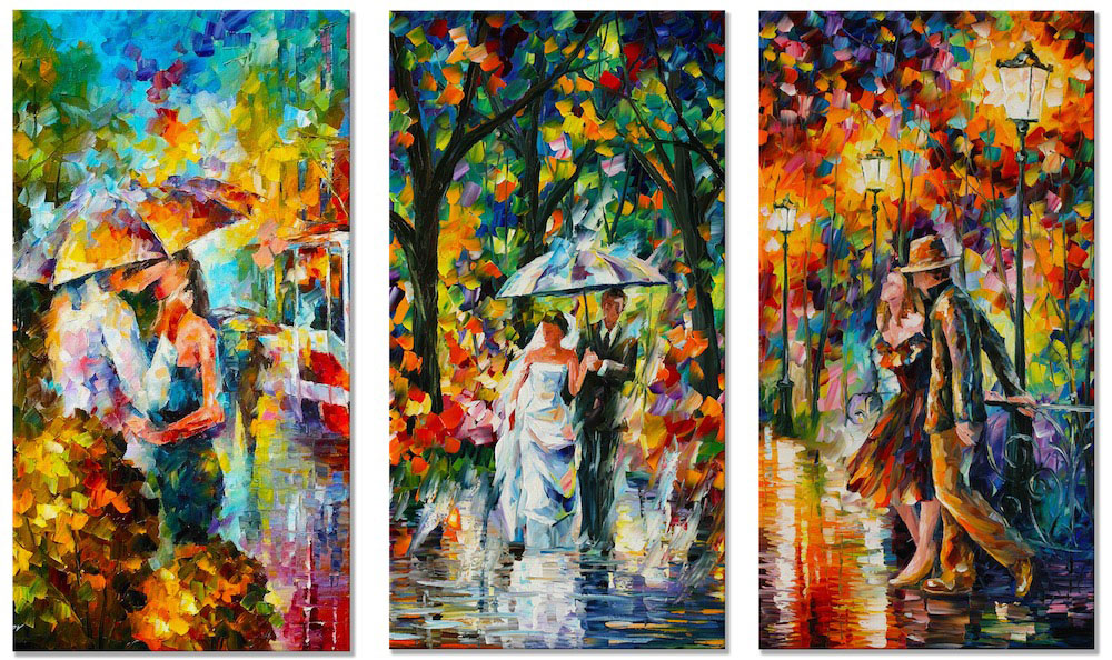 "Continuation of Happiness—SET OF 3 PAINTINGS Original Oil Paintings On Canvas By Leonid Afremov - Size 48""x72"""