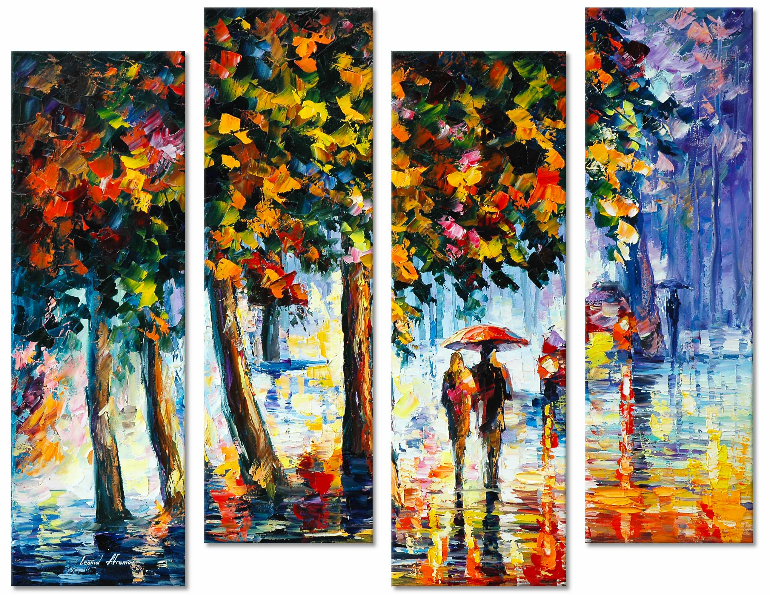"COOLNESS OF THE RAIN —SET OF 4 PAINTINGS Original Oil Paintings On Canvas By Leonid Afremov - Size 30""x80"""