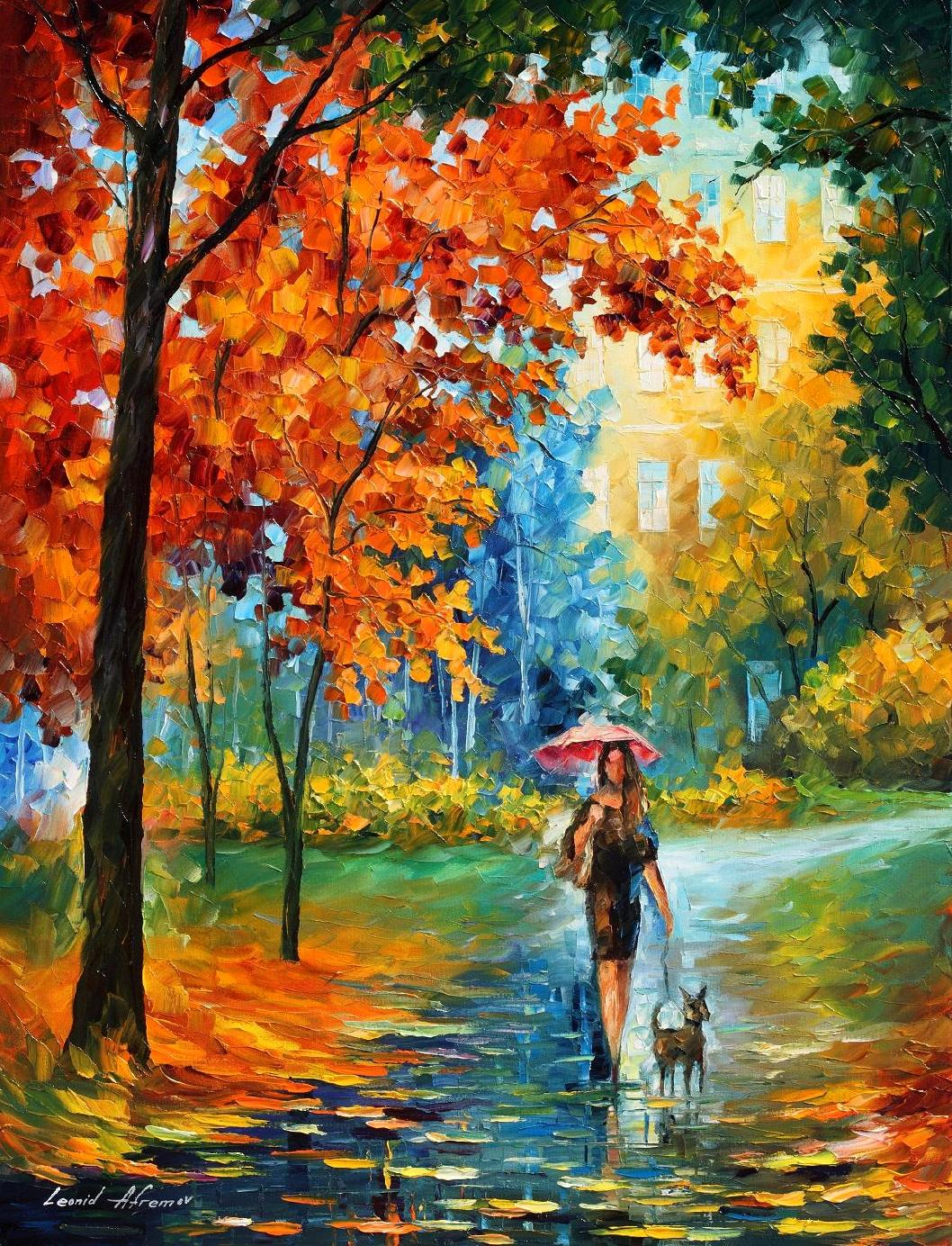 "INTRIGUING AUTUMN - Palette Knife Oil Painting On Canvas By Leonid Afremov - 30""X40""   OFFER"