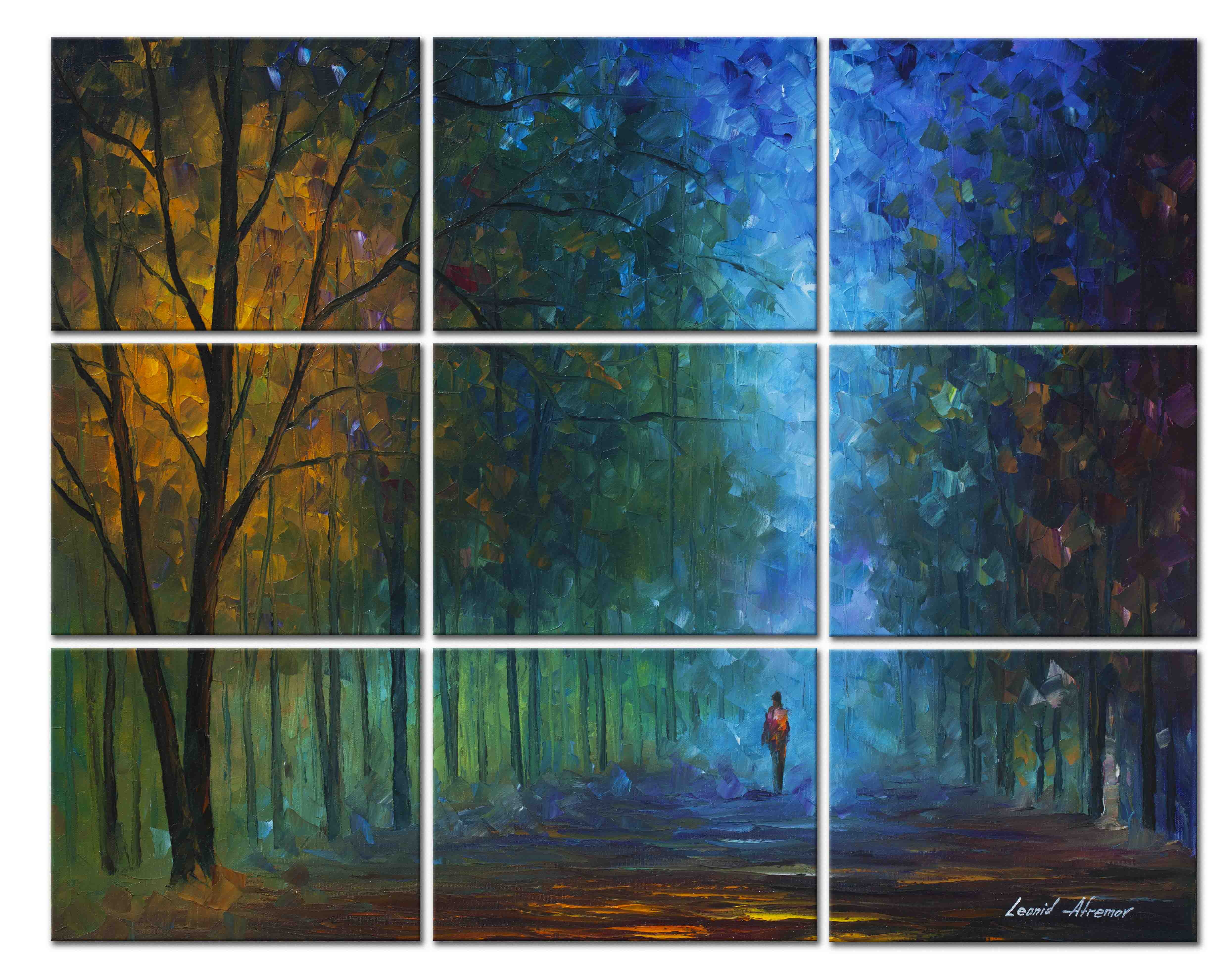 "Night Alley —SET OF 9 PAINTINGS Original Oil Paintings On Canvas By Leonid Afremov - Size 60""x48"""