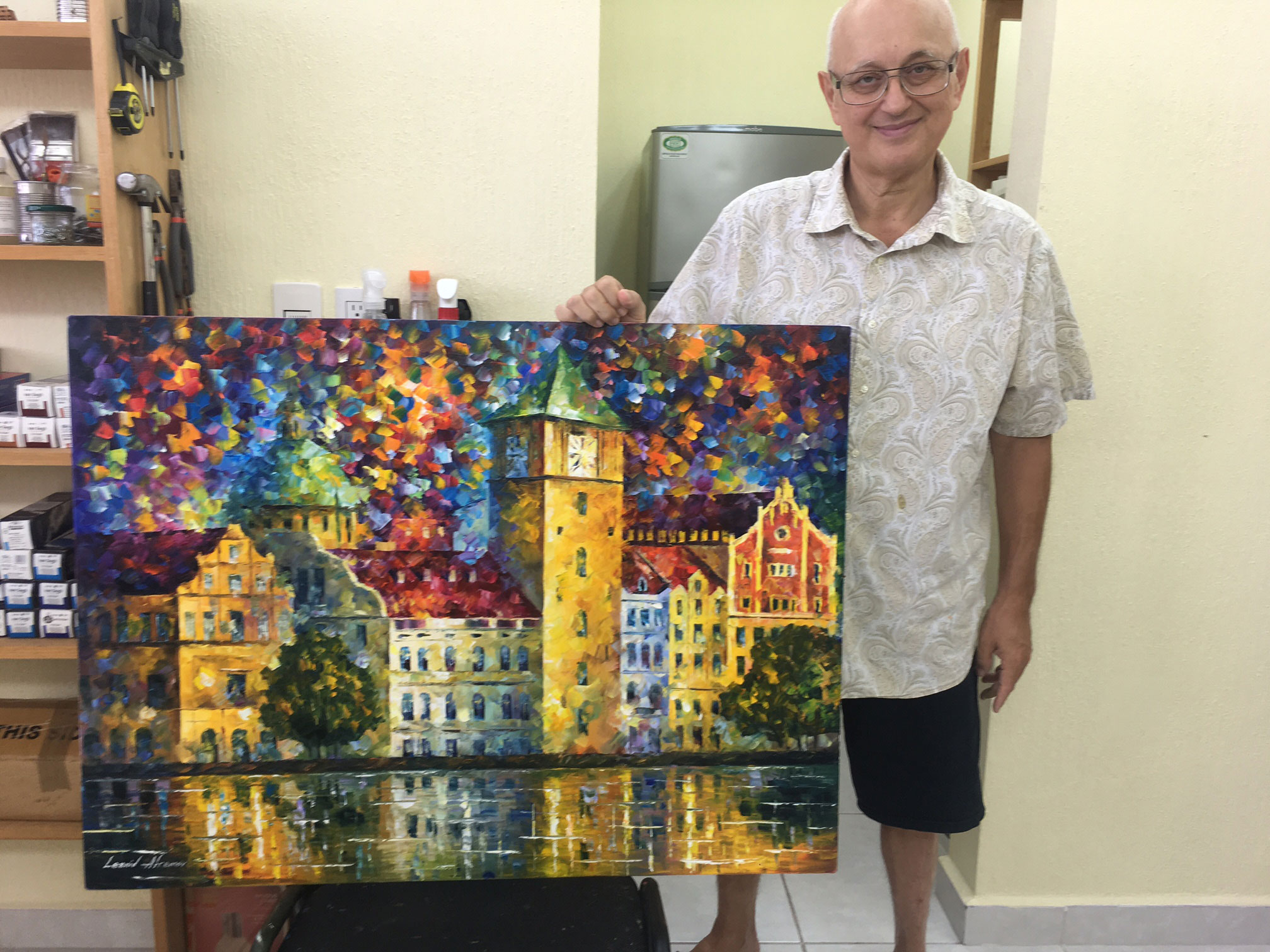 "The town from my dream- Original Oil Painting On Canvas By Leonid Afremov - 30""X40"""