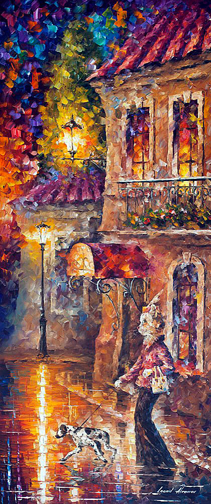 "SOMETHING IS WRONG — Original Oil Painting On Canvas By Leonid Afremov - Size 24""x57"" (60cm x 144cm)"