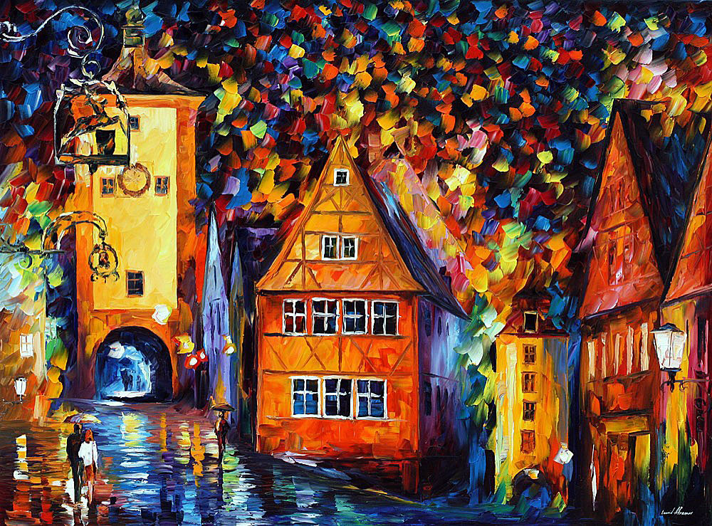 "GERMANY - MEDIEVAL ROTHENBURG — PALETTE KNIFE Oil Painting On Canvas By Leonid Afremov - Size 48""x36"" (120cm x 90cm) (promo)"