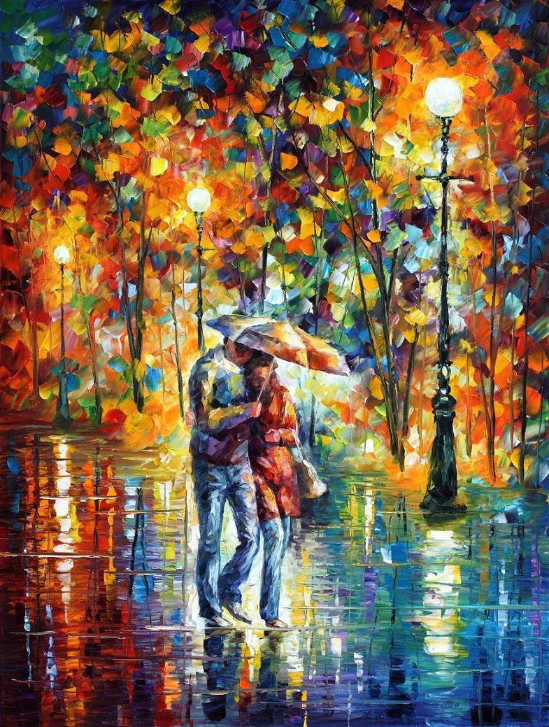 "RAINY EVENING — PALETTE KNIFE Oil Painting On Canvas By Leonid Afremov - Size 30""x40"" (offer)"