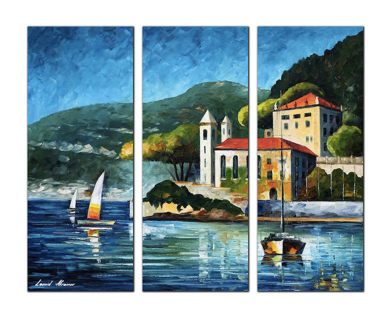 "ITALY, LAKE COMO — VILLA BALBIANELLO — PALETTE KNIFE Oil Painting On Canvas By Leonid Afremov - TOTAL Size 30""x60"", 30""x20"" EACH"