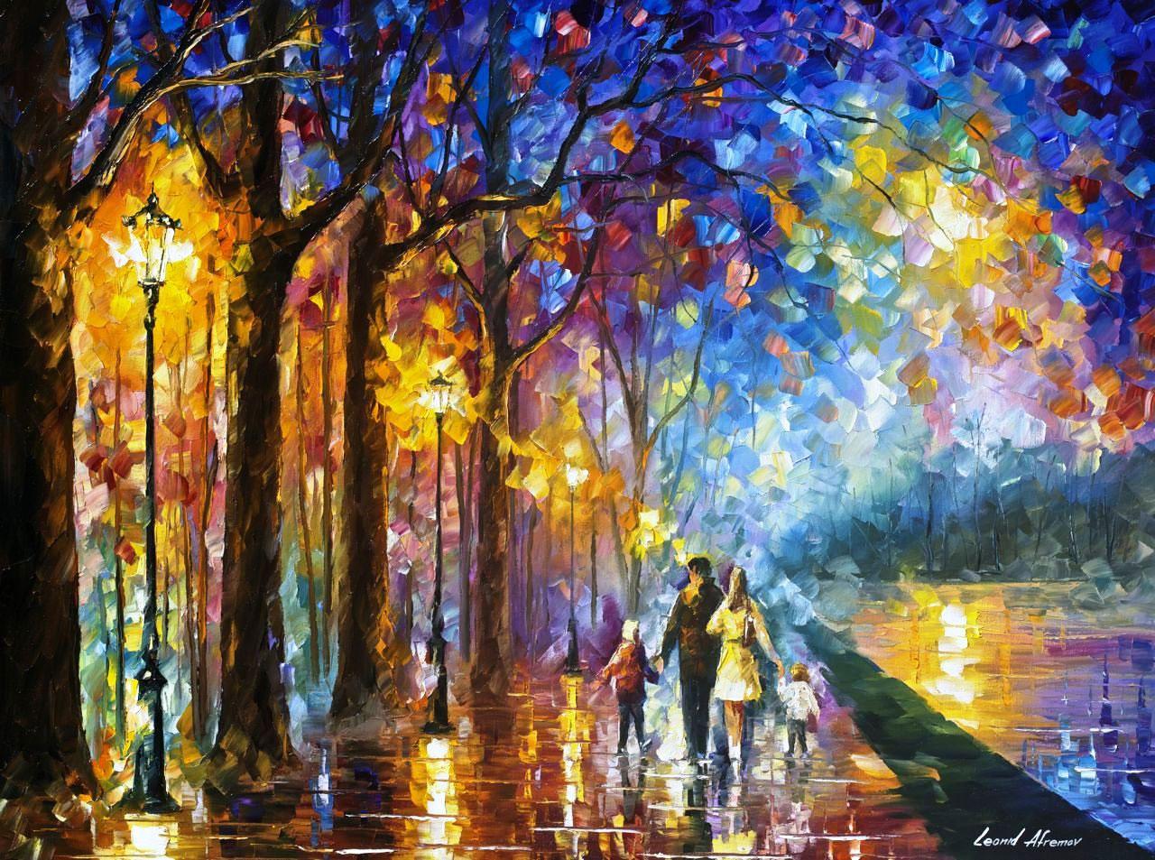 "FAMILY BY THE LAKE - PALETTE KNIFE Oil Painting On Canvas By Leonid Afremov - 48 x 36""   (120cm x 90cm)"