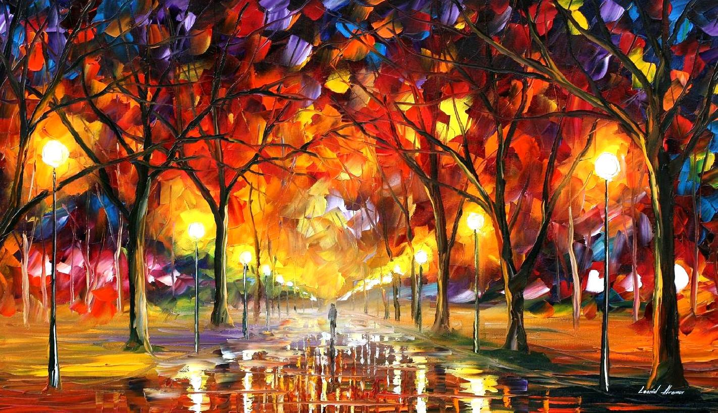 WARM RAIN DROPS — PALETTE KNIFE Oil Painting On Canvas By Leonid Afremov - Size 65x48
