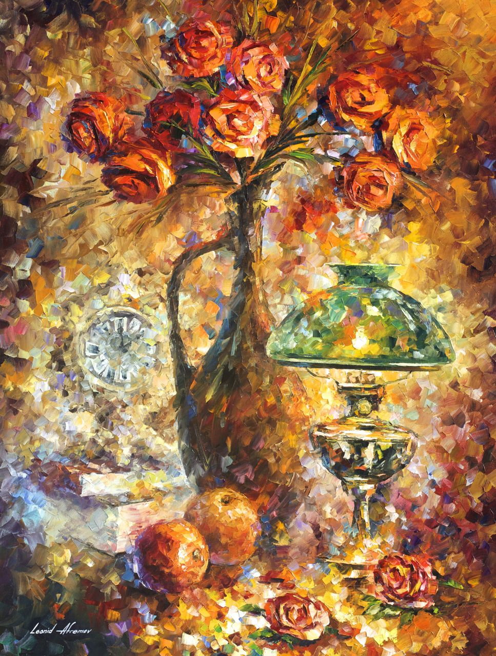 "IMPERSONAL ROSES - Palette Knife Oil Painting On Canvas By Leonid Afremov - 30""X40"" (75cm x 100cm) (promo)"