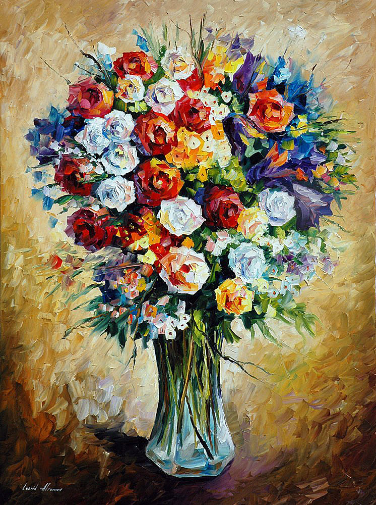 "FAVORITE FLOWERS — PALETTE KNIFE Oil Painting On Canvas By Leonid Afremov - Size 36""x48"" (90cm x 120cm) (offer)"