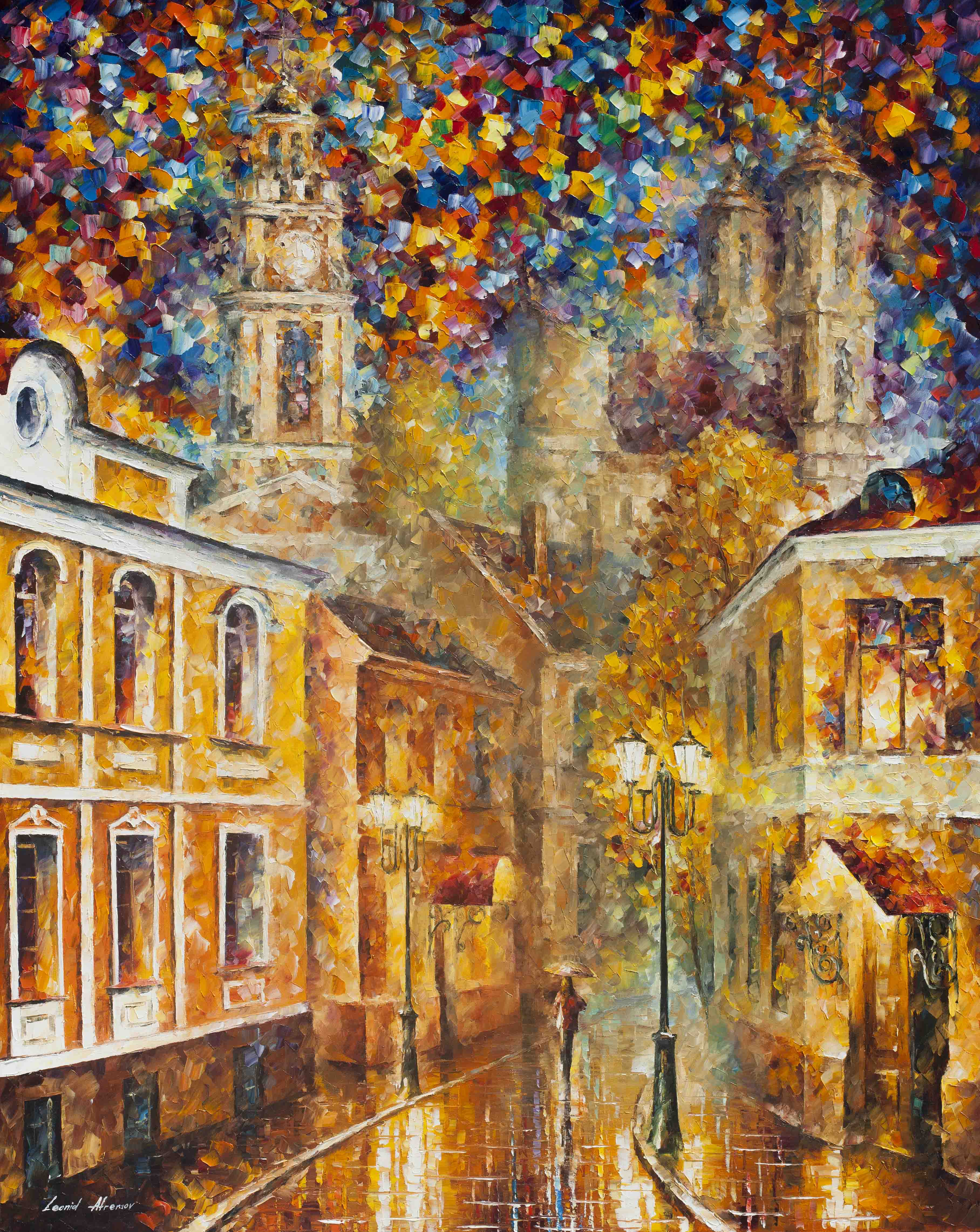"GOLD CITY -  PALETTE KNIFE Oil Painting On Canvas By Leonid Afremov - 30""X40"" (75Cm x 100CM) offer"