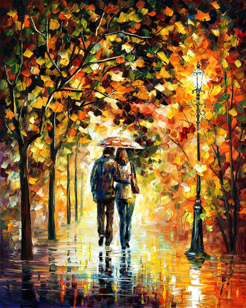 "AUTUMN WALK — PALETTE KNIFE Oil Painting On Canvas By Leonid Afremov - Size 24""x36"" (60cmx90cm)"