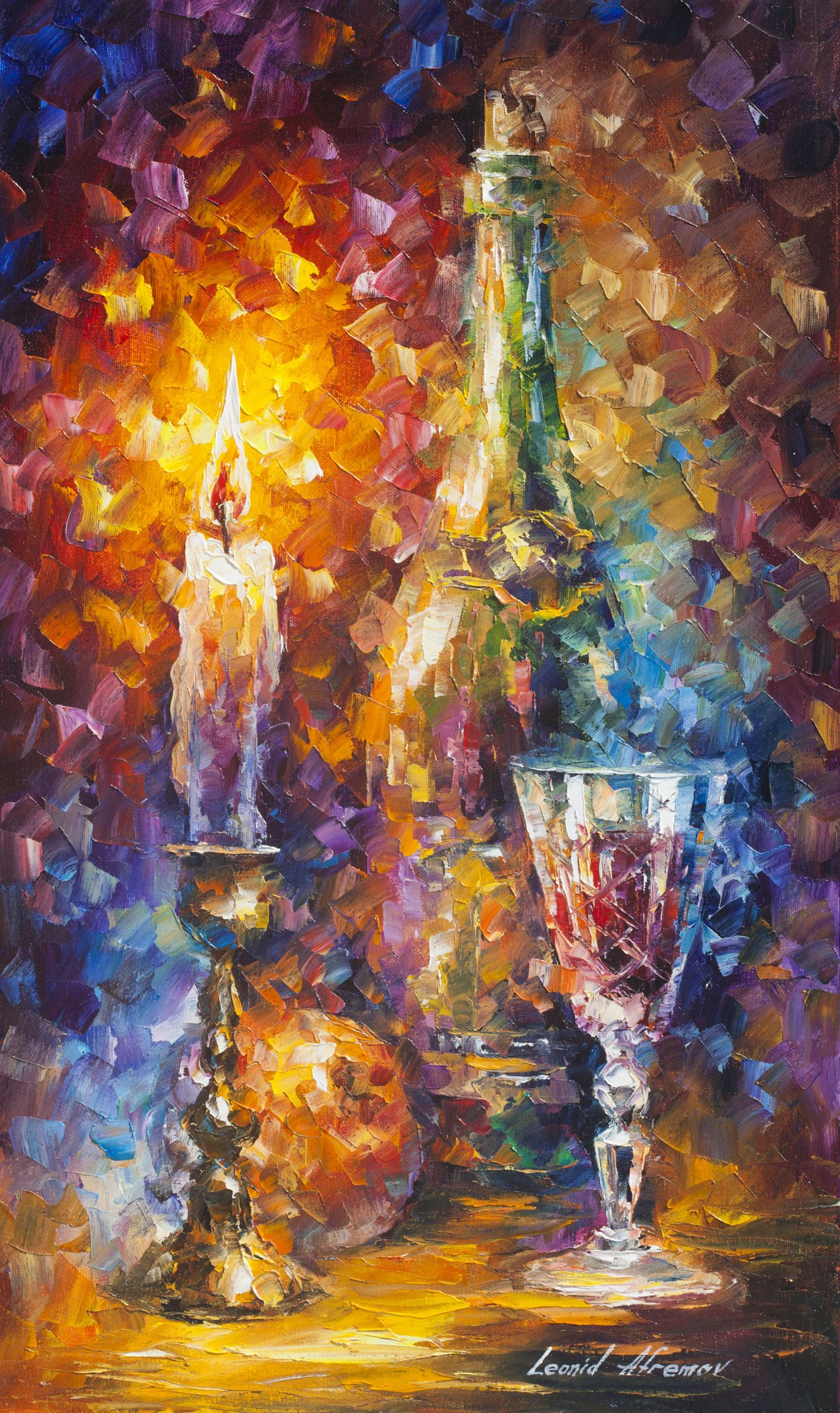 "SWEET WINE -  Original Oil Painting On Canvas By Leonid Afremov - 15""X25"" (37cm x 64cm)"