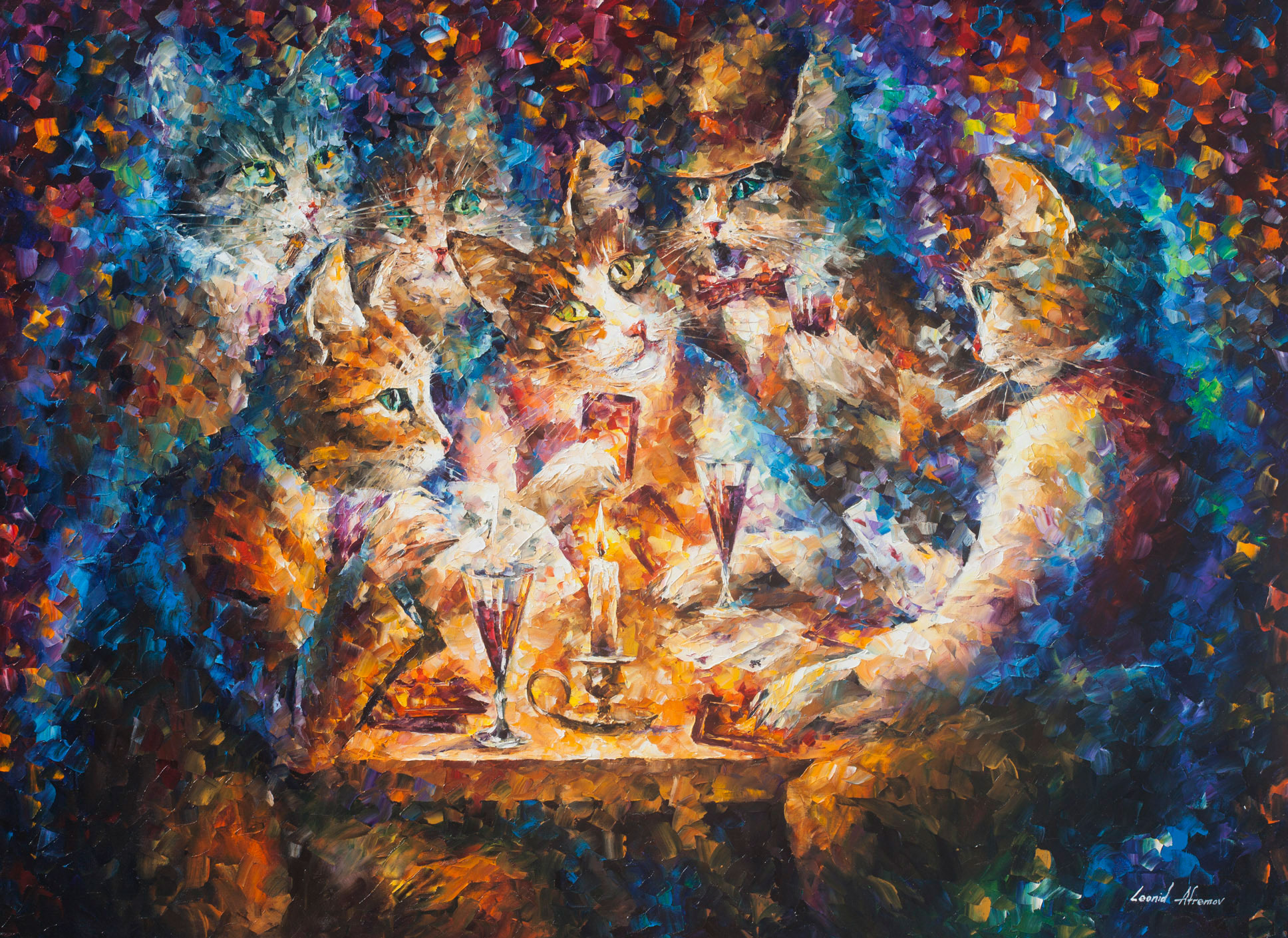 "CAT BRIDGE - Original Oil Painting On Canvas By Leonid Afremov - 57""X42"" (145cm x 105cm)"