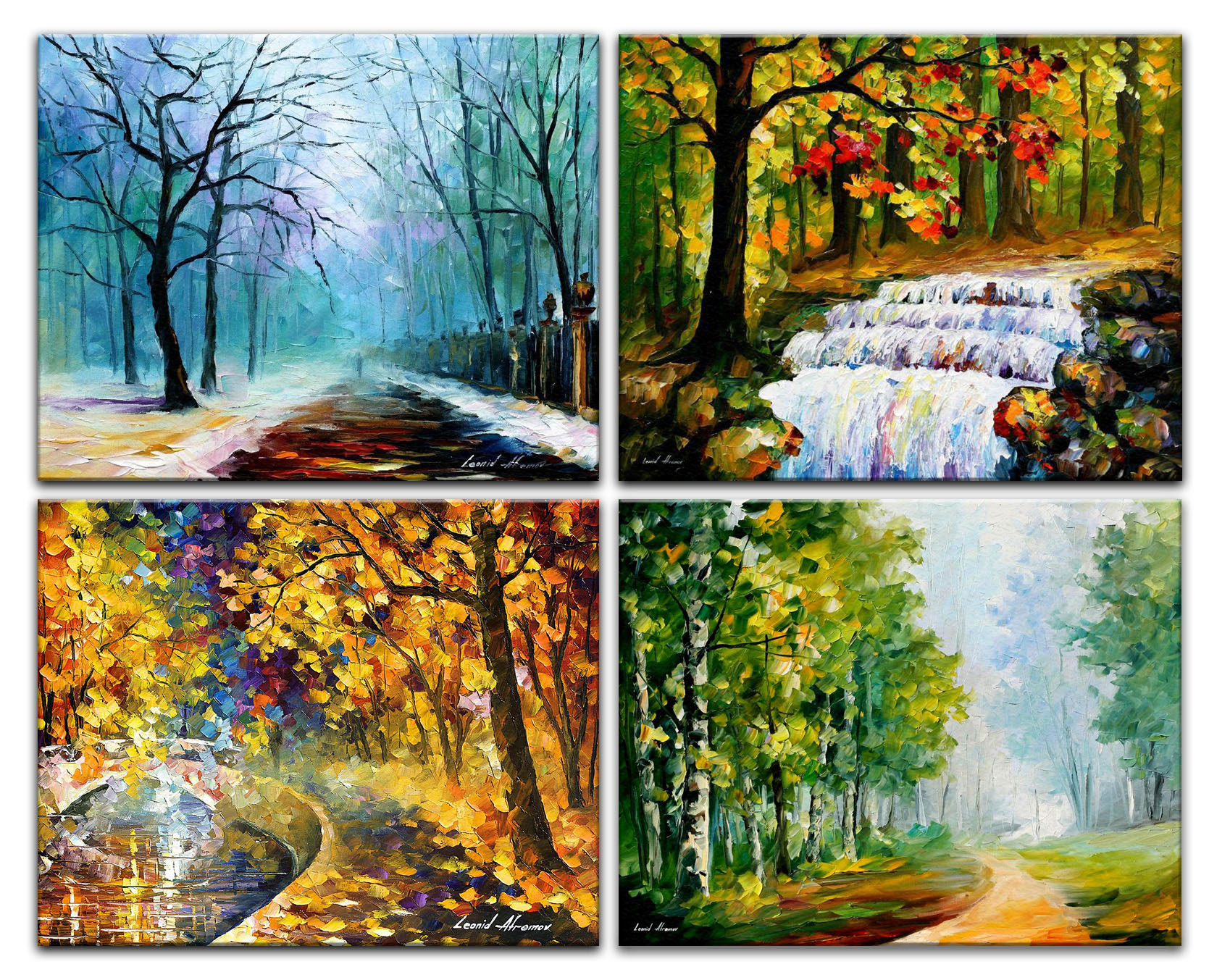 FOUR SEASONS  — Set of 4 PALETTE KNIFE Oil Paintings On Canvas By Leonid Afremov - Size 30¨X40¨EACH.