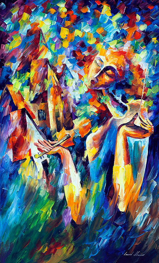 "SWEET DREAMS — Original Oil Painting On Canvas By Leonid Afremov - Size 24""x40"" (60cm x 100cm)"