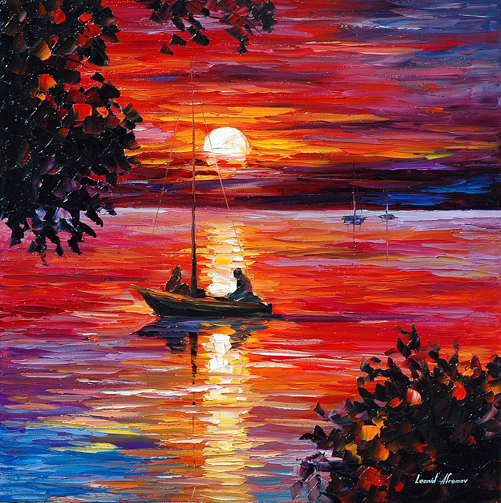 "NIGHT FISHING — Oil Painting On Canvas By Leonid Afremov - Size 24""x24"" (60cm x 60cm)  (offer)"