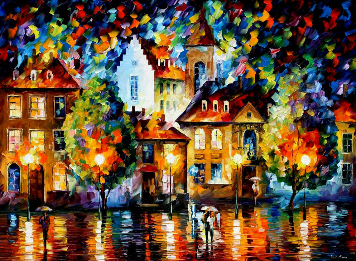 "LUXEMBOURG NIGHT— PALETTE KNIFE Oil Painting On Canvas By Leonid Afremov - Size 29""x22"""
