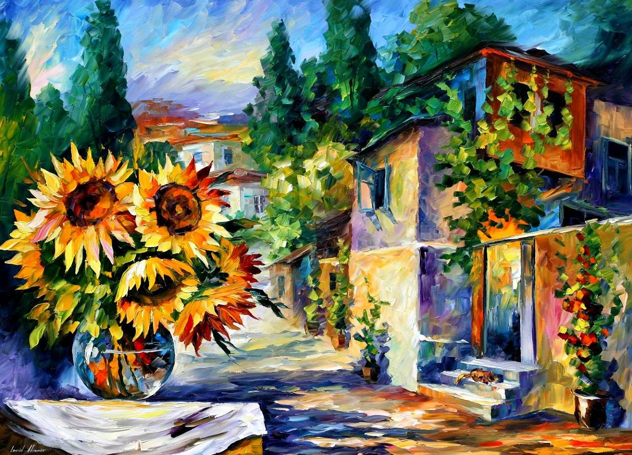 "GREEK NOON — PALETTE KNIFE Oil Painting On Canvas By Leonid Afremov - Size 40""X30""  (100cm x 75cm)"