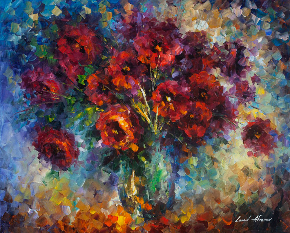 "Rose Impression  — Print on cotton Canvas By Leonid Afremov - Size 30""x24"""