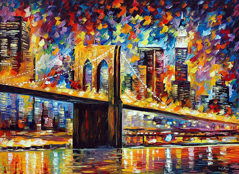 "NEW YORK - BROOKLYN BRIDGE — PALETTE KNIFE Oil Painting On Canvas By Leonid Afremov - Size 40""x30"" (100cm x 75cm)"